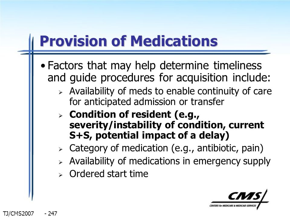 Provision of Medications