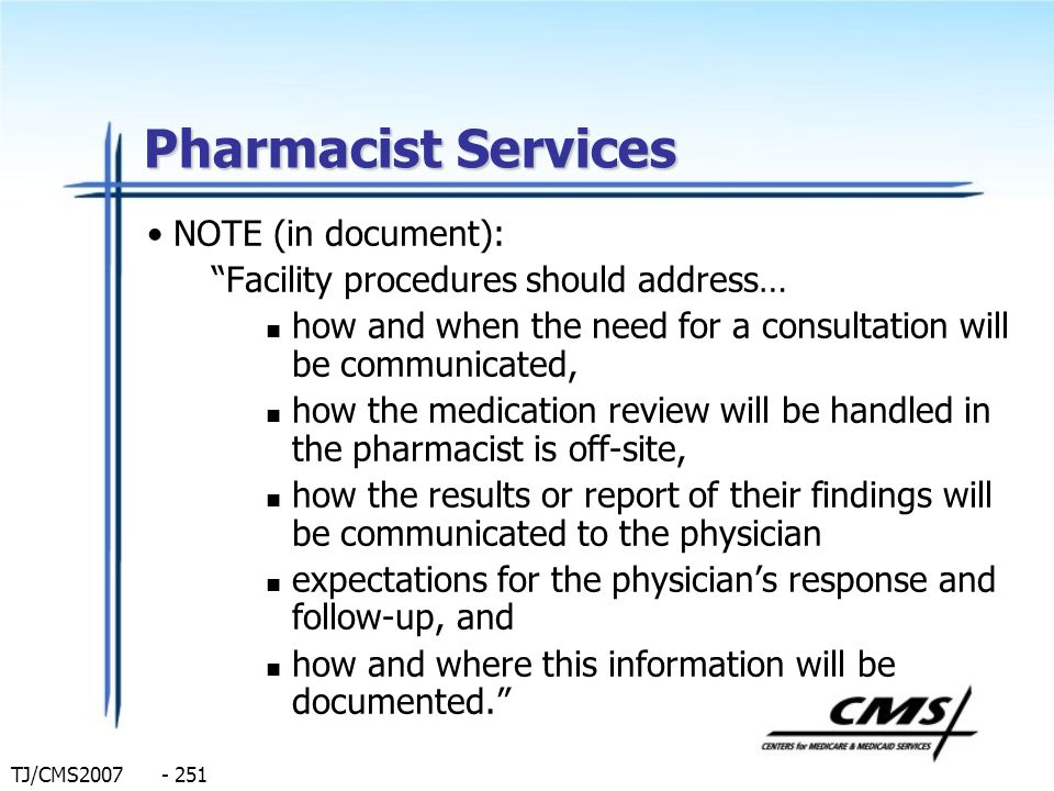Pharmacist Services NOTE (in document):