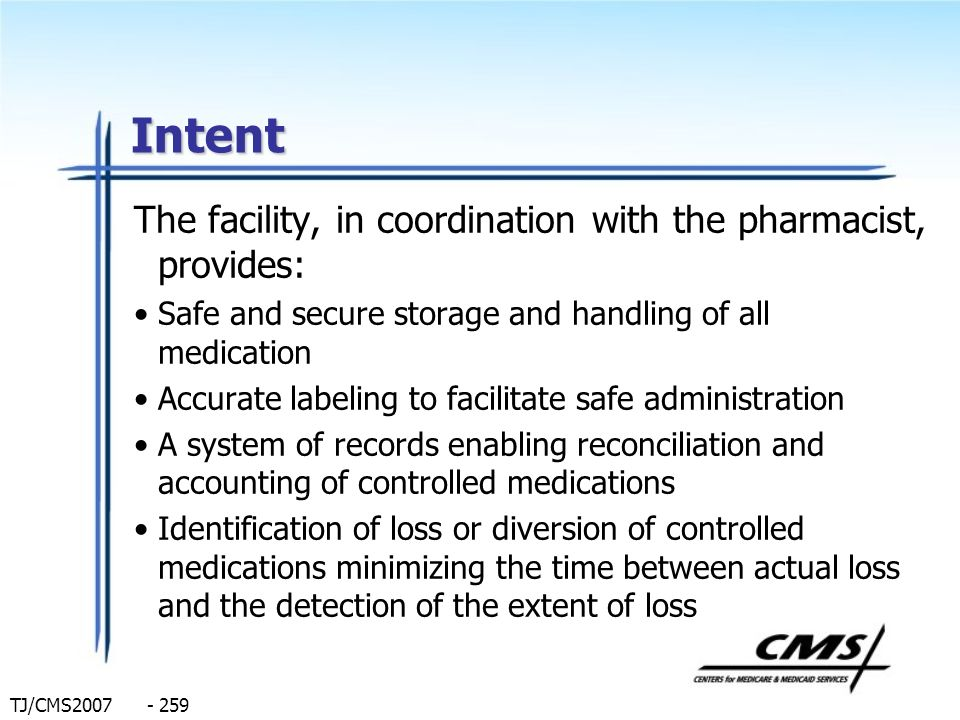 Intent The facility, in coordination with the pharmacist, provides: