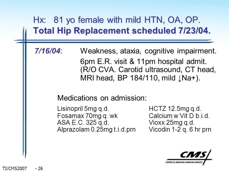 Hx:. 81 yo female with mild HTN, OA, OP