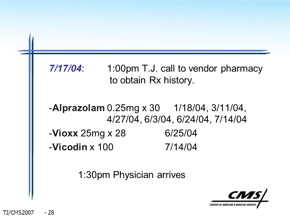 7/17/04: 1:00pm T.J. call to vendor pharmacy to obtain Rx history.
