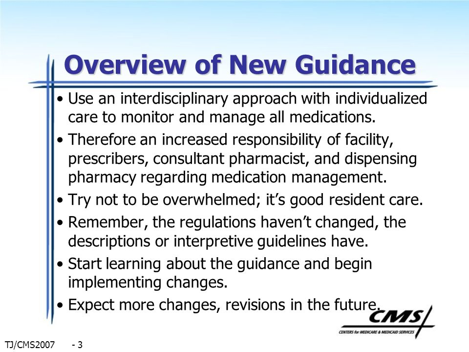 Overview of New Guidance