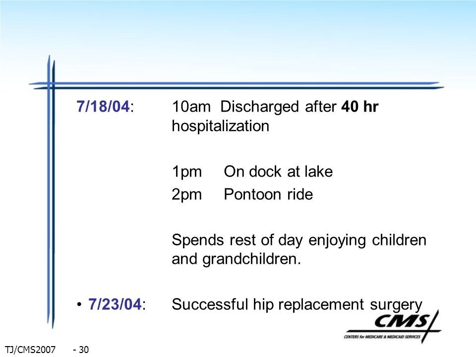 7/18/04: 10am Discharged after 40 hr hospitalization