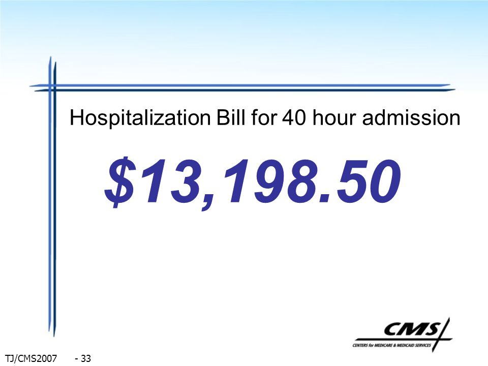 Hospitalization Bill for 40 hour admission