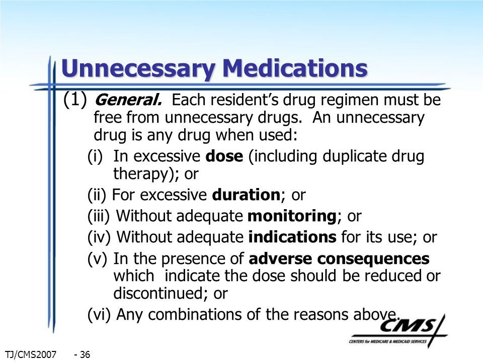 Unnecessary Medications