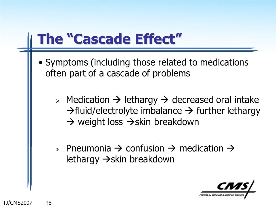 The Cascade Effect Symptoms (including those related to medications often part of a cascade of problems.