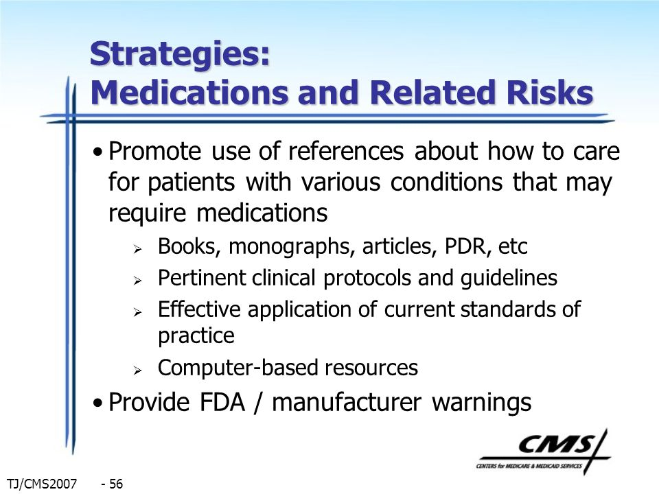 Strategies: Medications and Related Risks