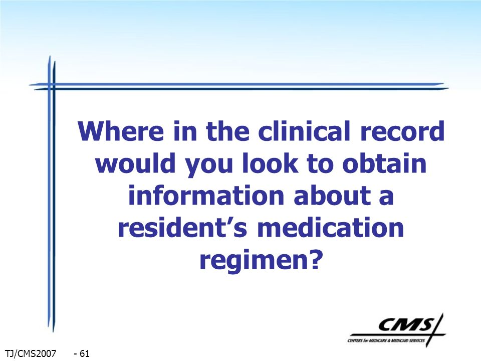 Where in the clinical record would you look to obtain information about a resident's medication regimen