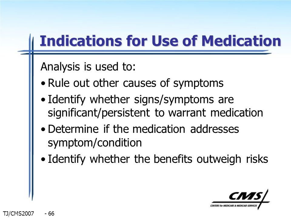 Indications for Use of Medication