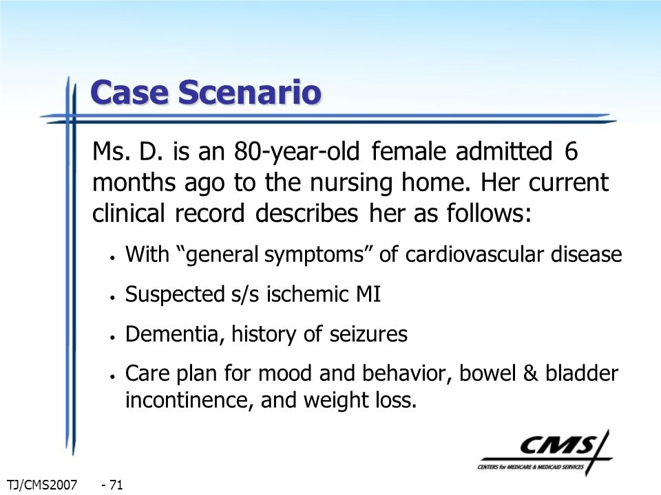 Case Scenario Ms. D. is an 80-year-old female admitted 6 months ago to the nursing home. Her current clinical record describes her as follows: