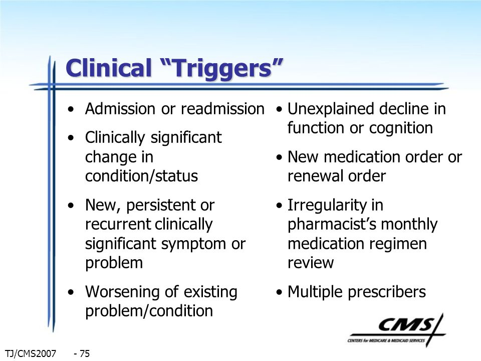 Clinical Triggers Admission or readmission