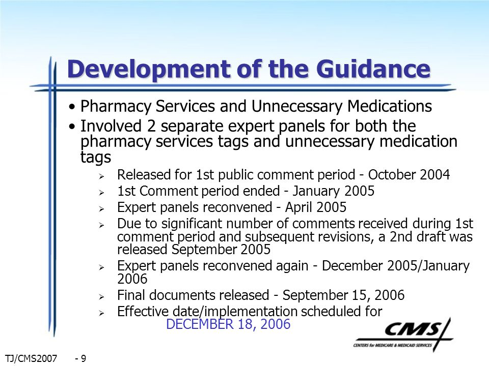 Development of the Guidance