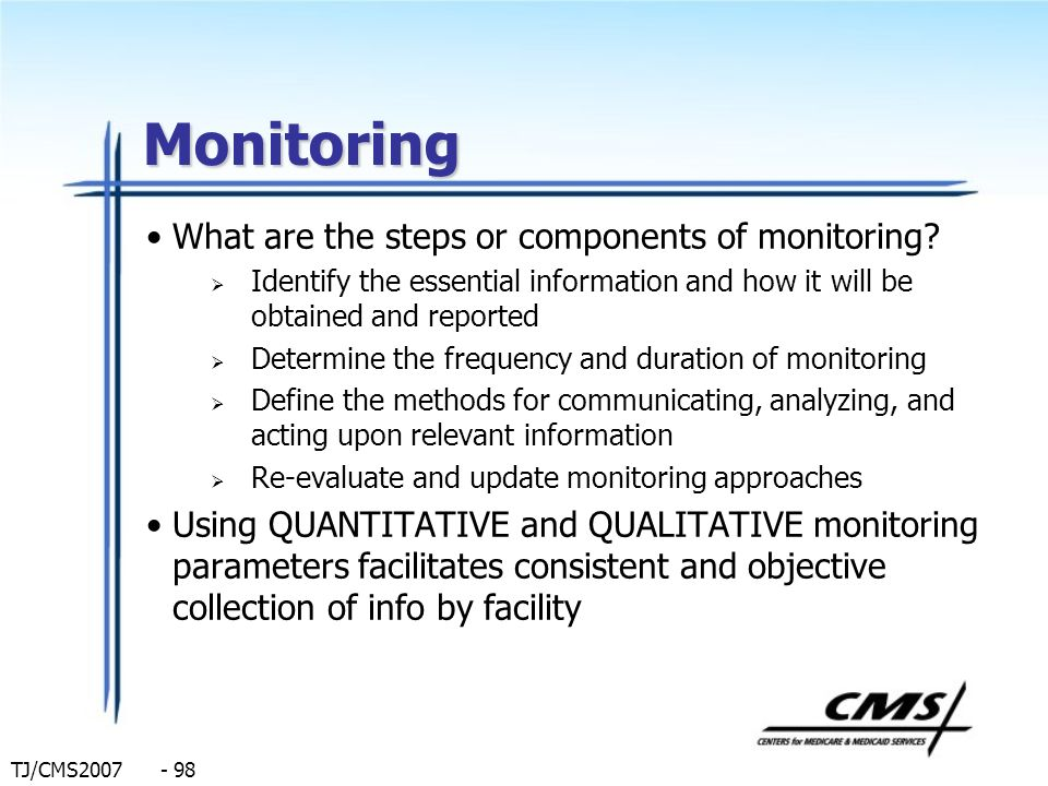 Monitoring What are the steps or components of monitoring