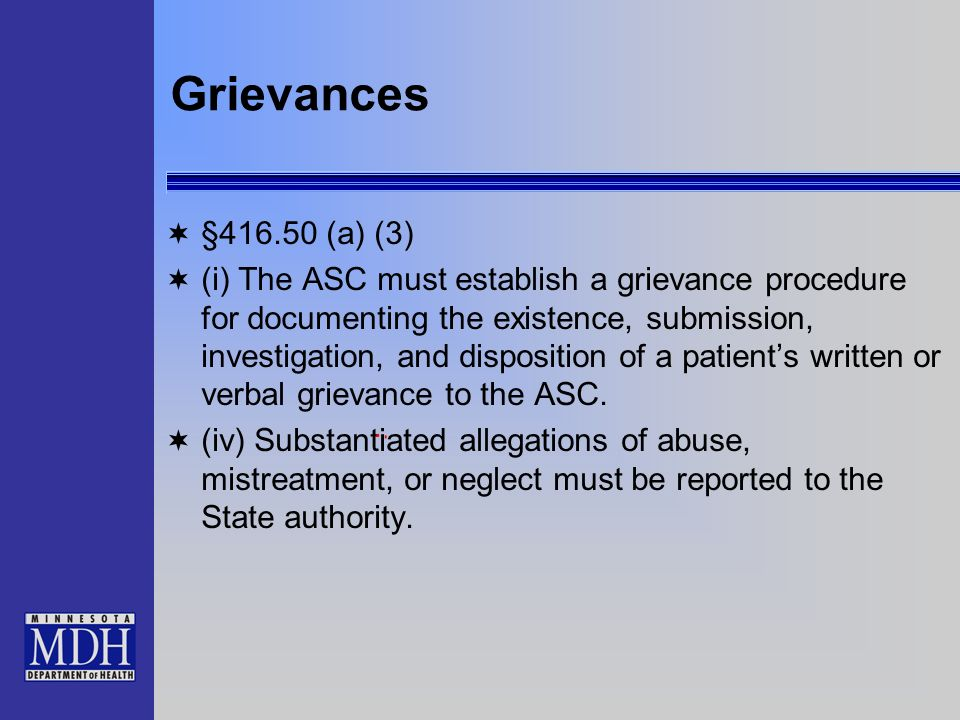 Grievances §416.50 (a) (3)