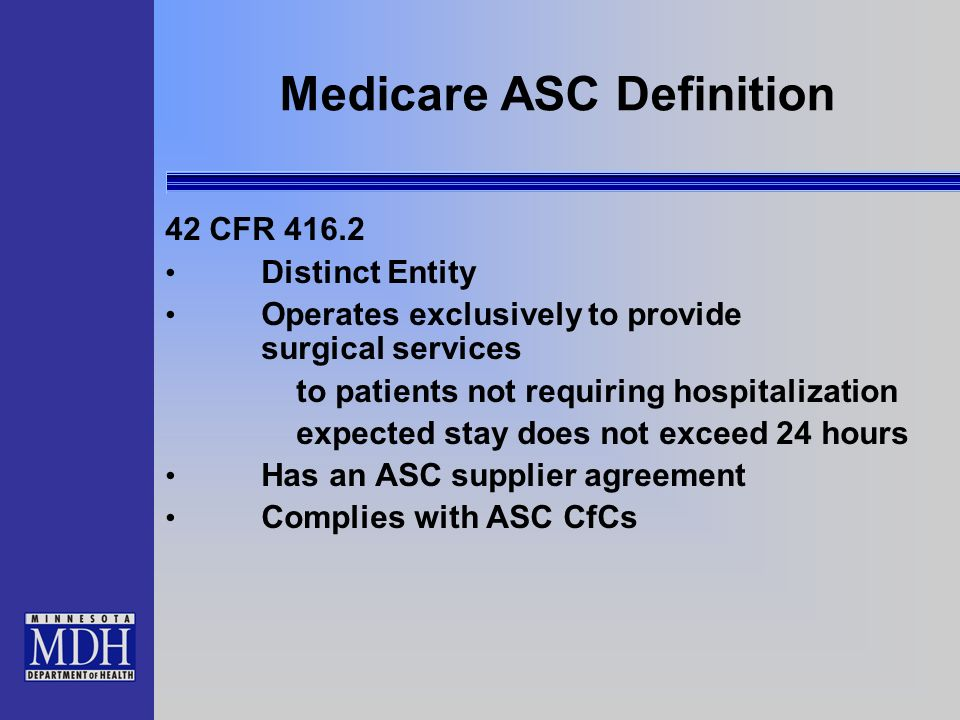 Medicare ASC Definition