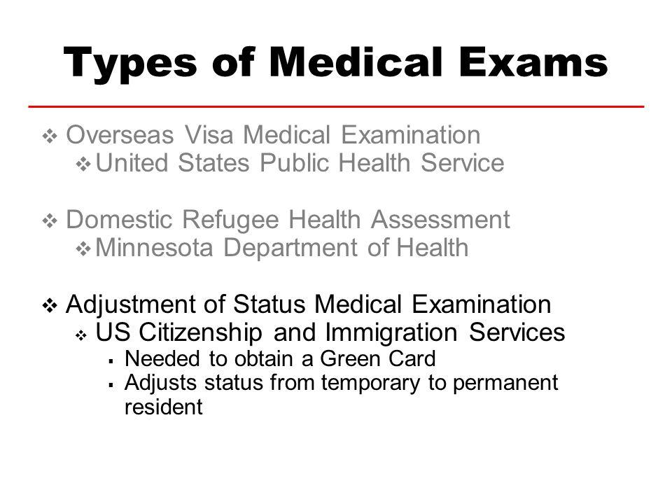 Types of Medical Exams Overseas Visa Medical Examination