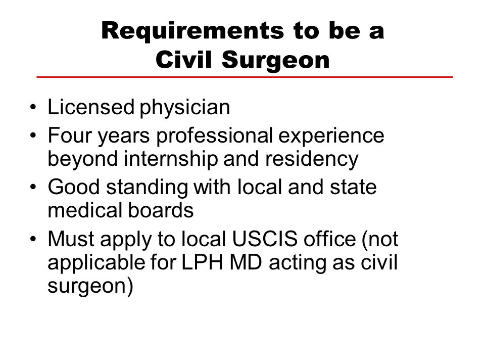 Requirements to be a Civil Surgeon
