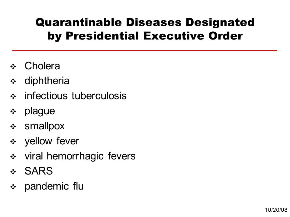 Quarantinable Diseases Designated by Presidential Executive Order