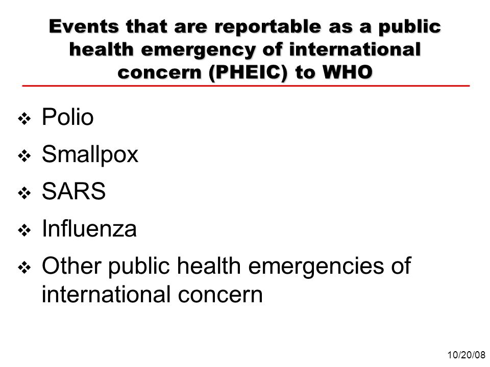 Other public health emergencies of international concern