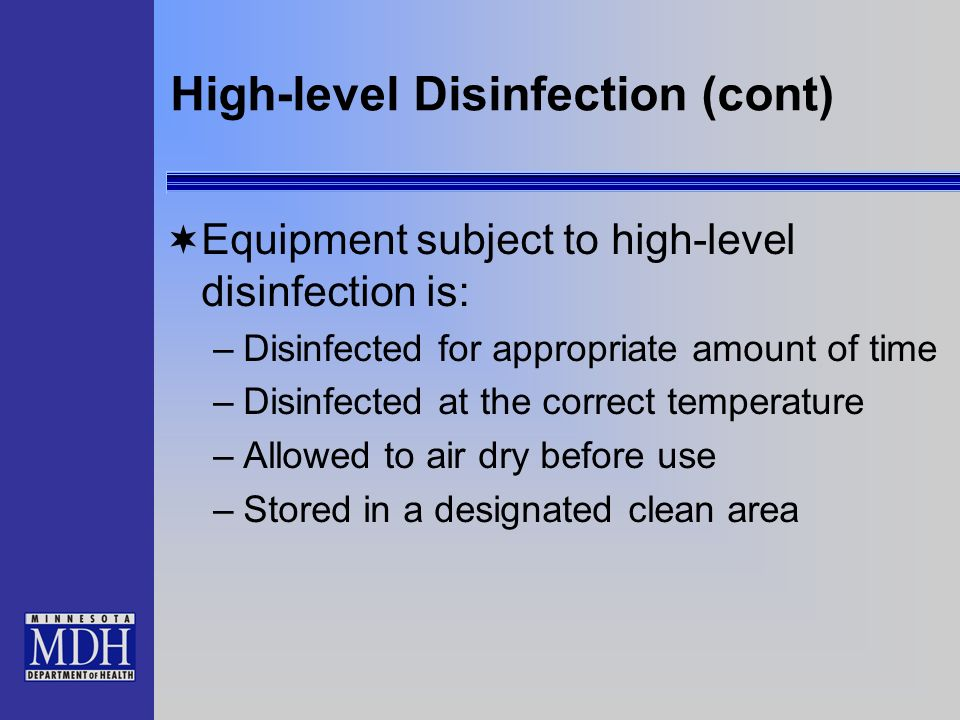High-level Disinfection (cont)