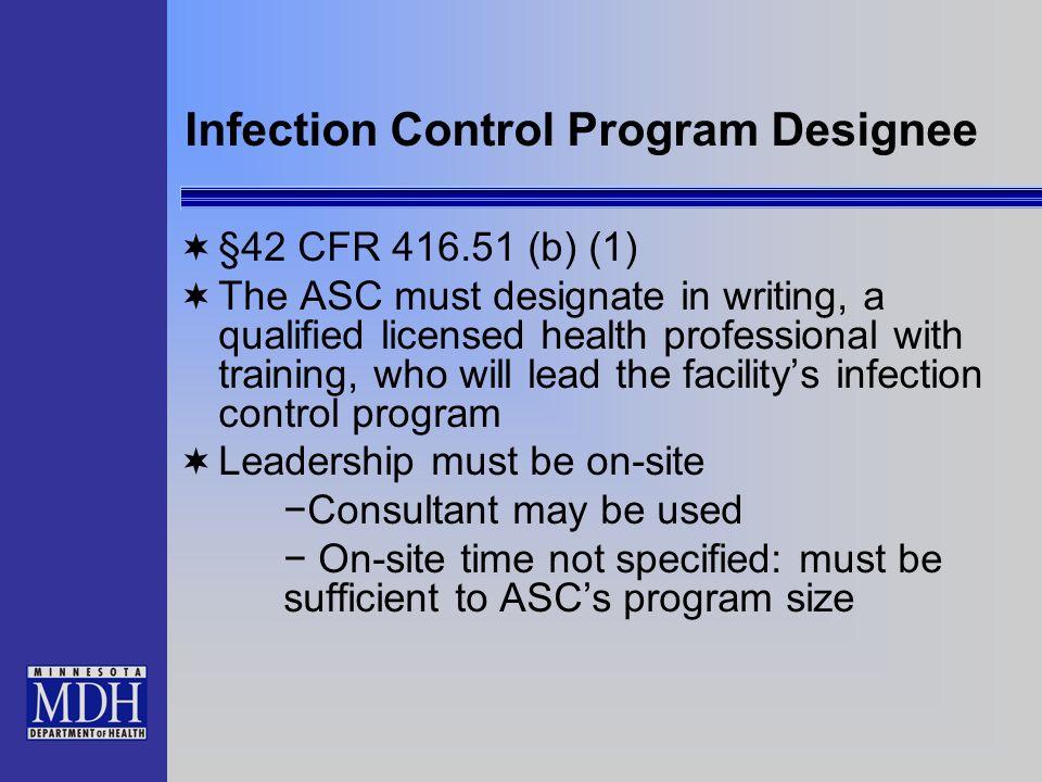 Infection Control Program Designee