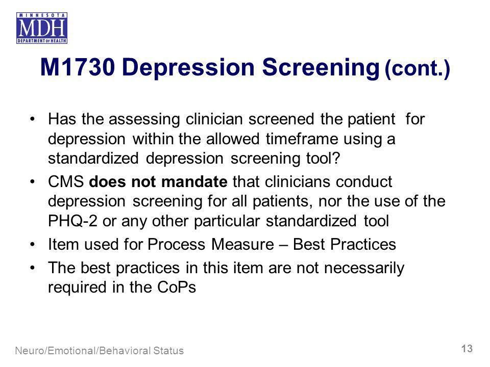 M1730 Depression Screening (cont.)