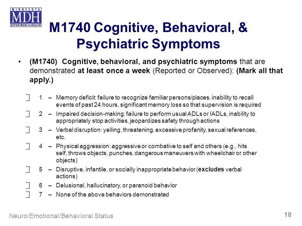 M1740 Cognitive, Behavioral, & Psychiatric Symptoms