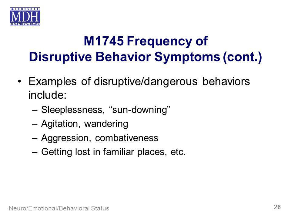 M1745 Frequency of Disruptive Behavior Symptoms (cont.)