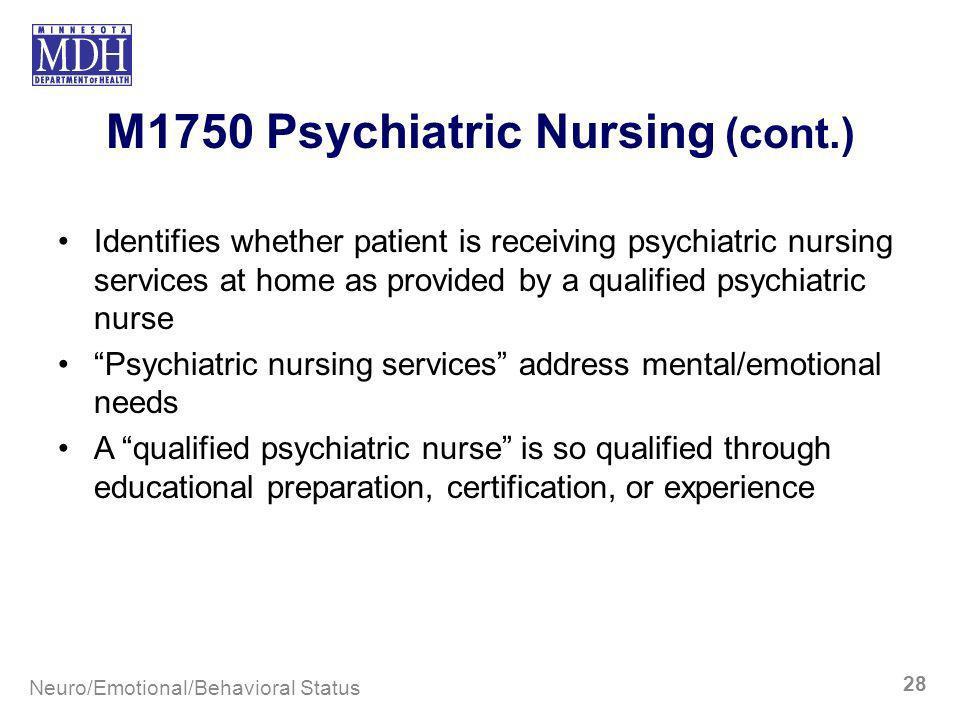 M1750 Psychiatric Nursing (cont.)