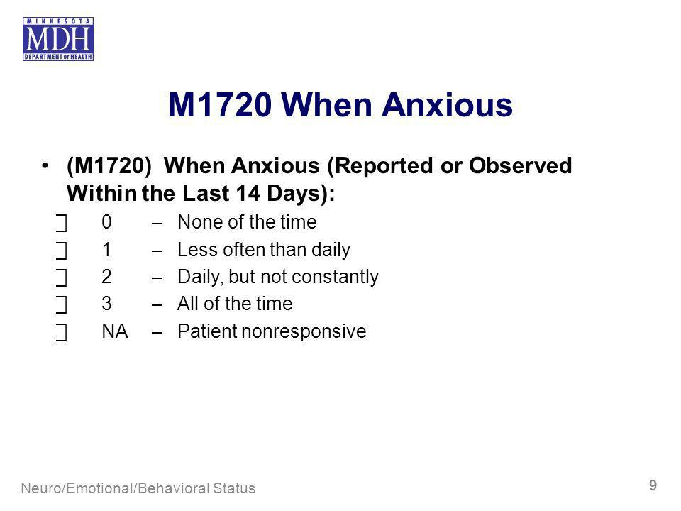 M1720 When Anxious (M1720) When Anxious (Reported or Observed Within the Last 14 Days): ⃞ 0 – None of the time.