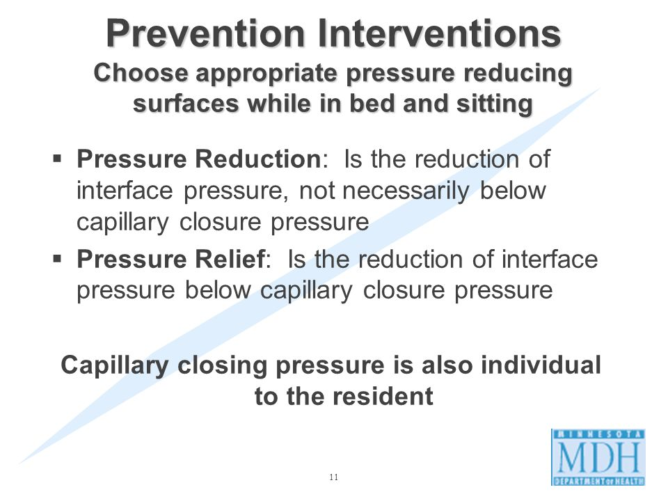 Capillary closing pressure is also individual to the resident