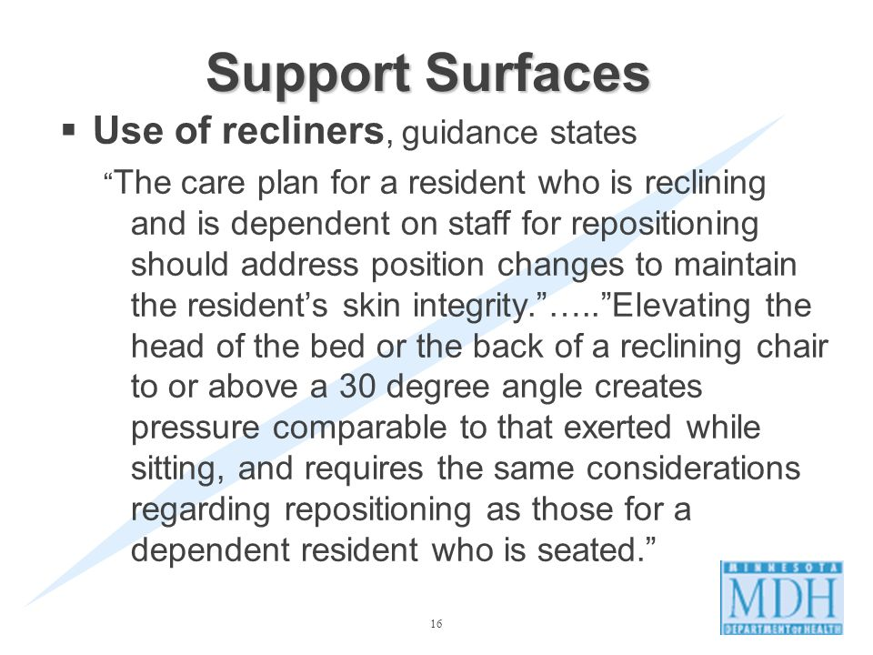 Support Surfaces Use of recliners, guidance states