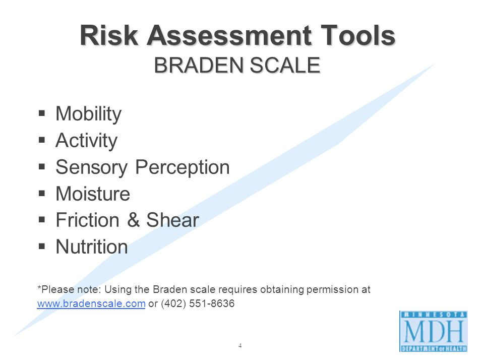 Risk Assessment Tools BRADEN SCALE