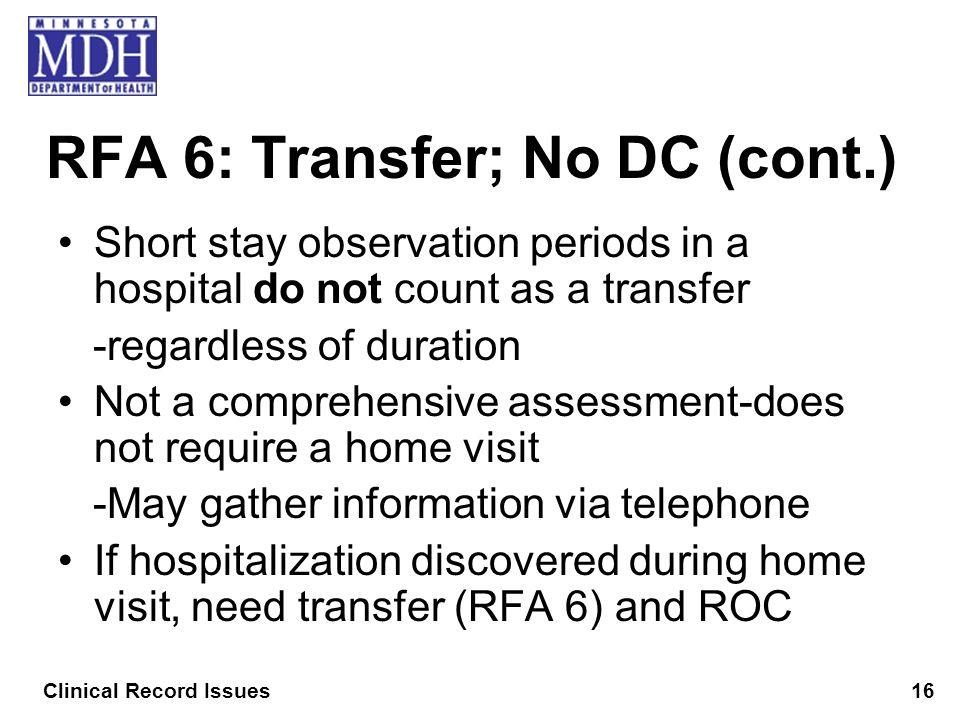 RFA 6: Transfer; No DC (cont.)