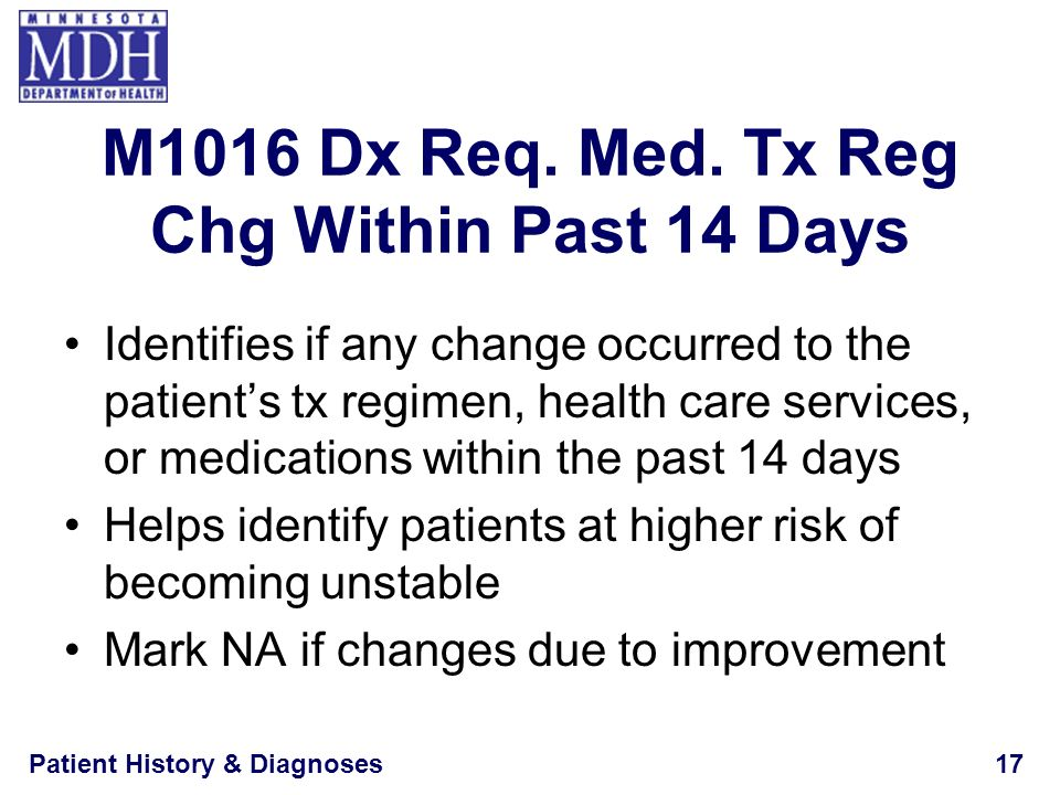 M1016 Dx Req. Med. Tx Reg Chg Within Past 14 Days