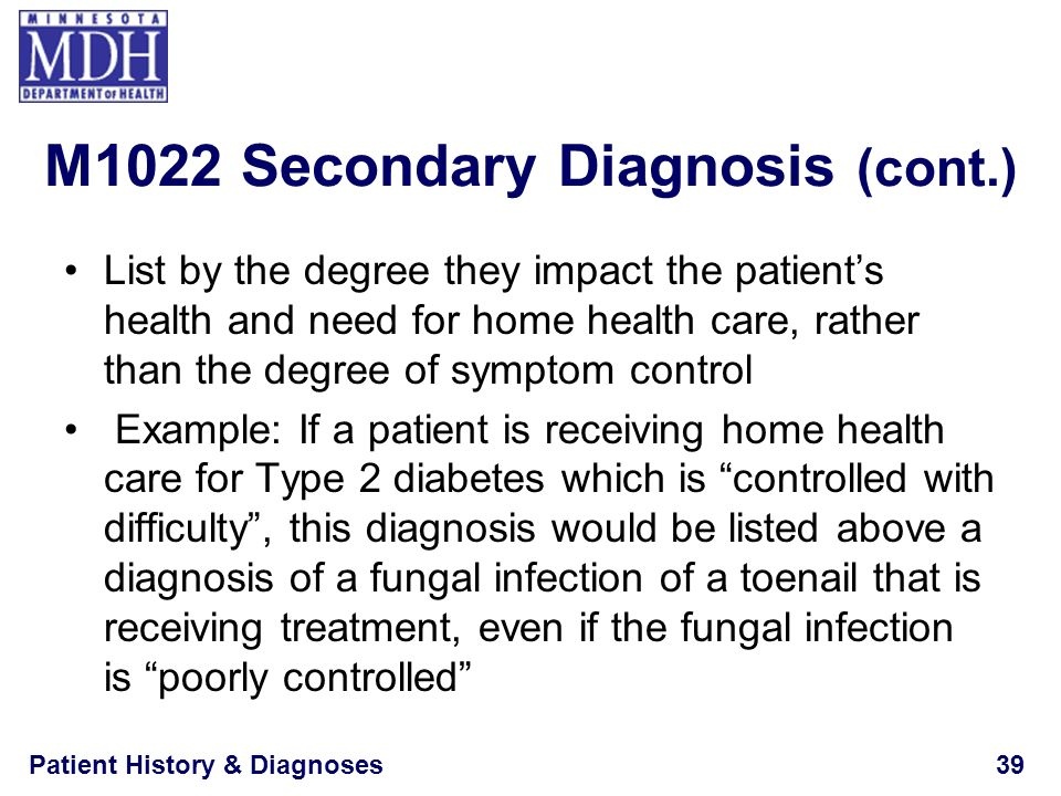 M1022 Secondary Diagnosis (cont.)