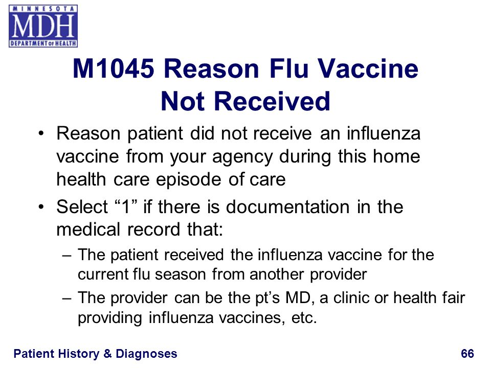 M1045 Reason Flu Vaccine Not Received