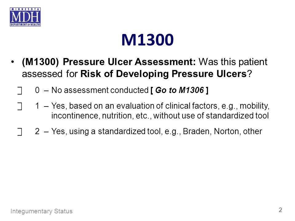 M1300 (M1300) Pressure Ulcer Assessment: Was this patient assessed for Risk of Developing Pressure Ulcers
