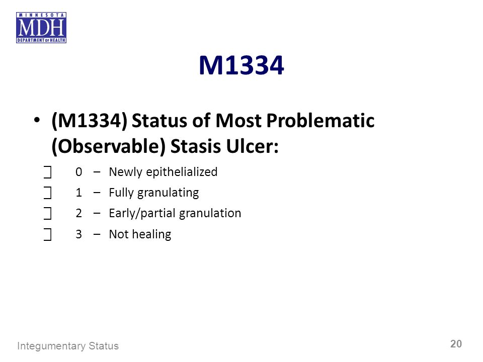 M1334 (M1334) Status of Most Problematic (Observable) Stasis Ulcer: