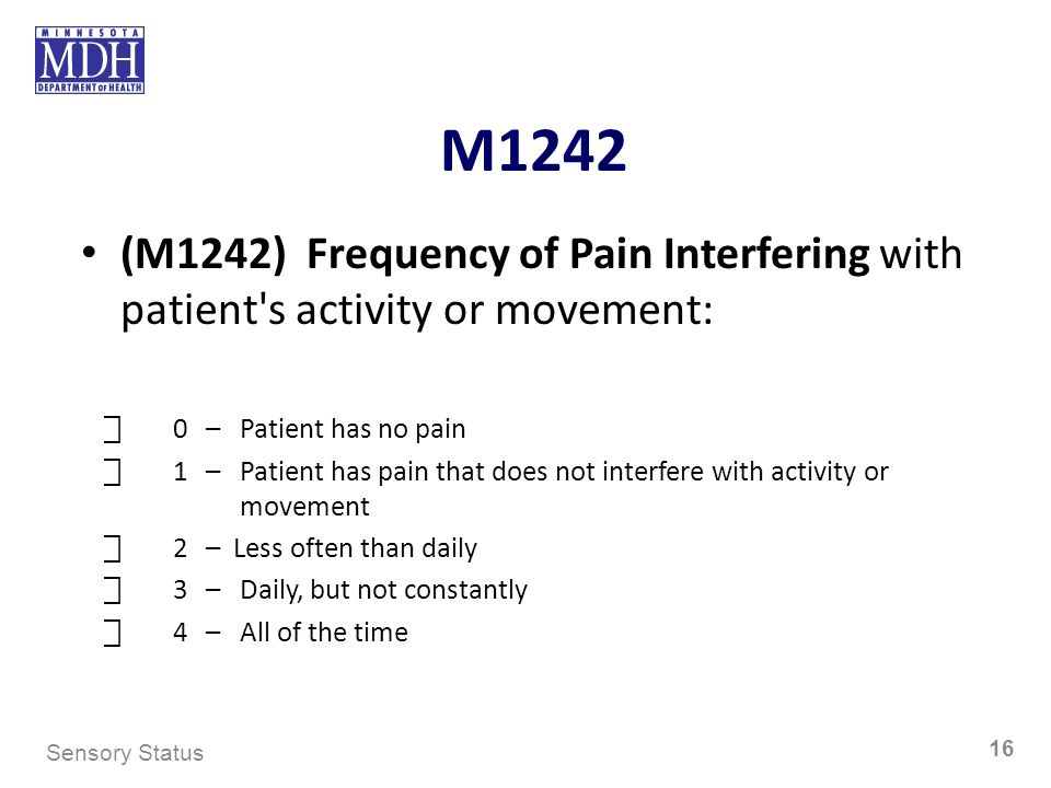 M1242 (M1242) Frequency of Pain Interfering with patient s activity or movement: ⃞ 0 – Patient has no pain.