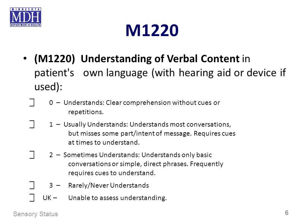 M1220 (M1220) Understanding of Verbal Content in patient s own language (with hearing aid or device if used):