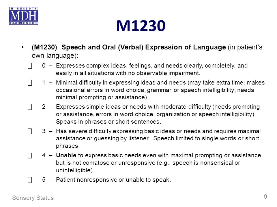 M1230 (M1230) Speech and Oral (Verbal) Expression of Language (in patient s own language):
