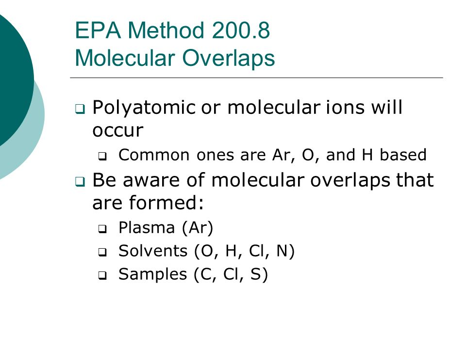 EPA Method 200.8 Molecular Overlaps