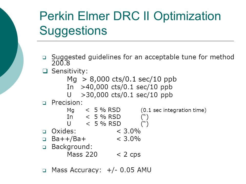 Perkin Elmer DRC II Optimization Suggestions