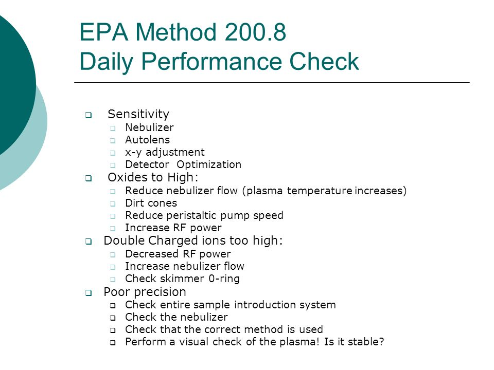 EPA Method 200.8 Daily Performance Check