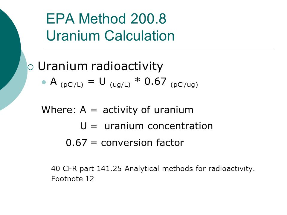 EPA Method 200.8 Uranium Calculation