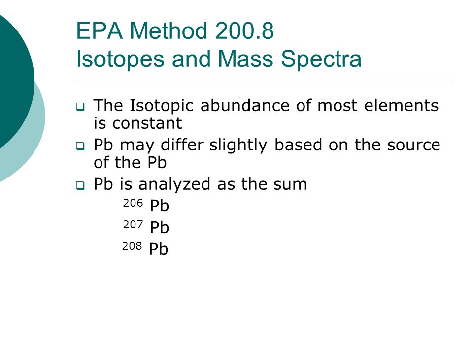 EPA Method Isotopes and Mass Spectra