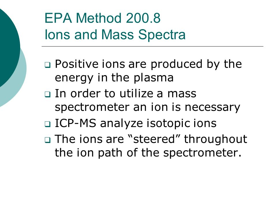 EPA Method Ions and Mass Spectra