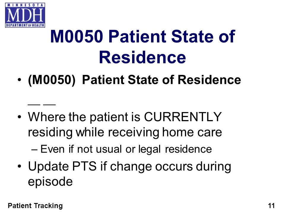 M0050 Patient State of Residence