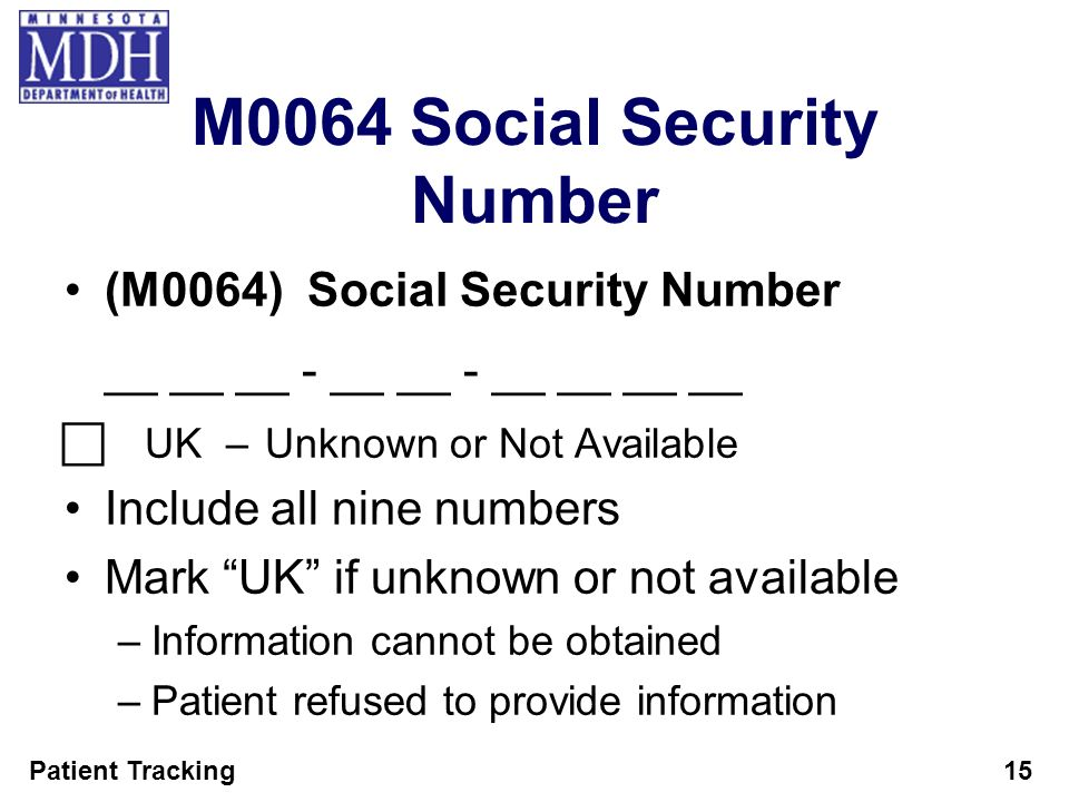 M0064 Social Security Number
